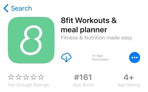 App Name example from 8fit (iOS 11)