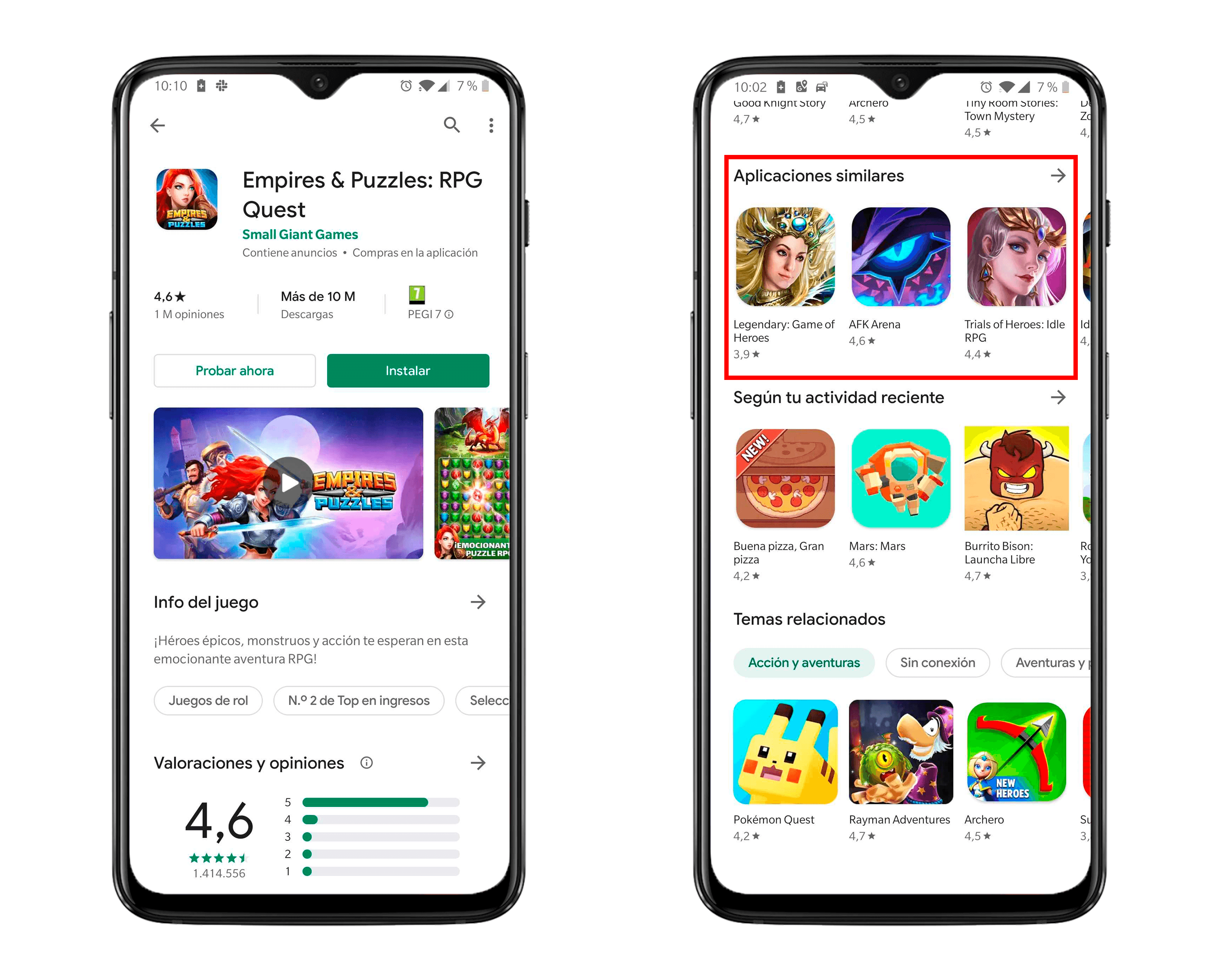 Similar Apps on the Google Play Store