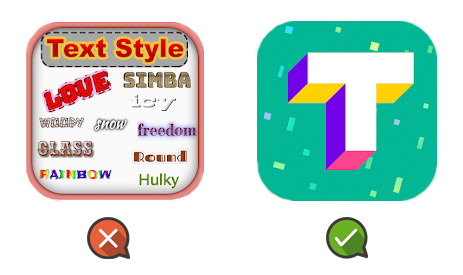 App icon with text